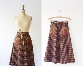 vintage wrap skirt / India print skirt / La Cienega skirt