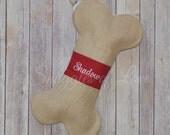 Personalized Dog Bone Christmas Stocking - Burlap Dog Stocking - Bone Shape Burlap Stocking - Embroidered Dog Stocking - Pet Stocking