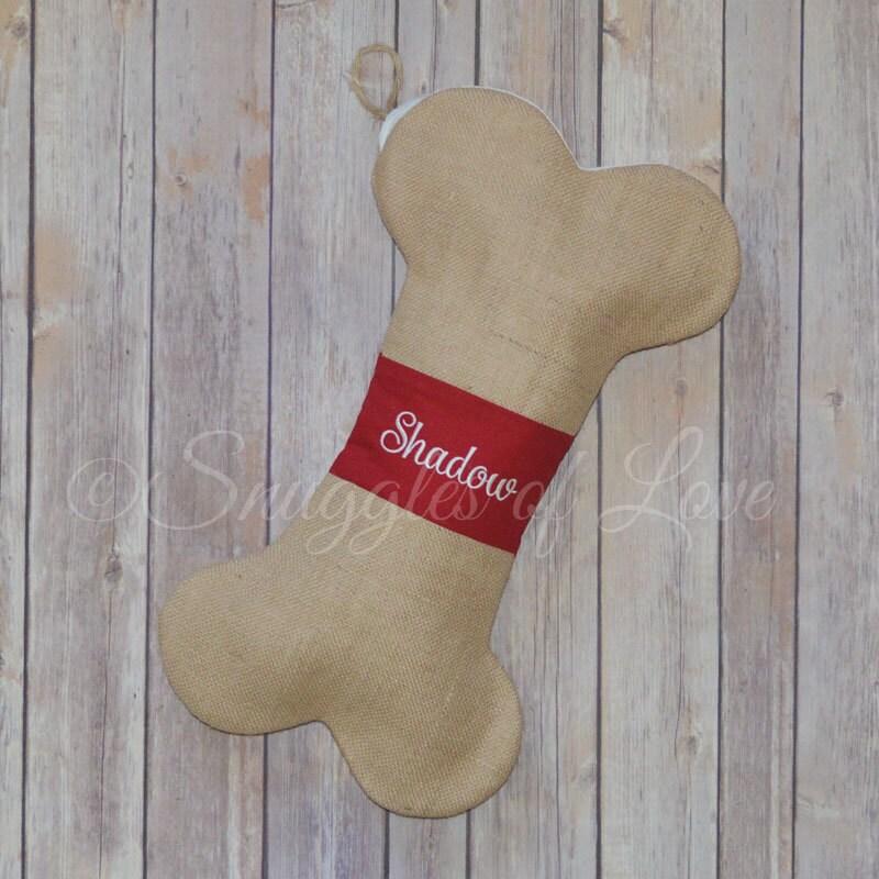 Personalized dog bone christmas stocking burlap by for Personalized dog christmas stocking
