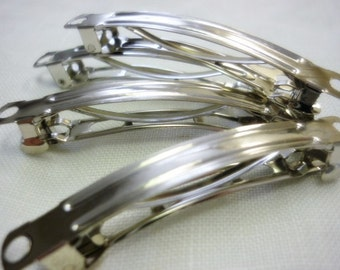 French Barrette Hair Clip,4 Silver 60mm French Hair Clips
