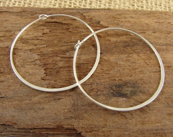 Sterling Silver Hammered Hoops - 35mm Sterling Silver Hoops - Hoop Ear Wires - hh35