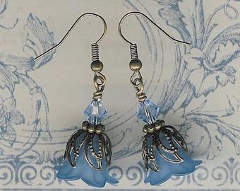 Blue Lucite Flower Earrings, Crystal Swarvoski, Light Blue Lily Earring, Art Nouveau, Antique Brass, Vintage Earring, My Julie Jewels, Blue