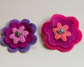 Bright Pink and Purple Flowers Felt Hair Clip Set