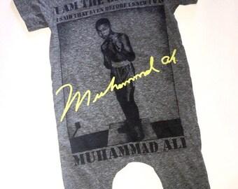 Upcycled Muhammad Ali Romper 12-18m