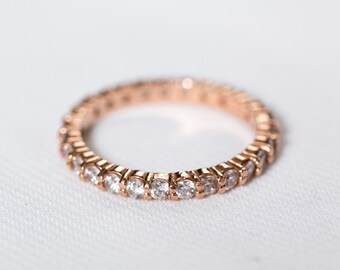 Rose Gold Eternity Wedding Ring | Blush Engagement Ring | Diamond Halo Wedding Band | Rose Gold Anniversary Ring [The Portia Ring]