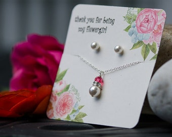 flower girl pearl and crystal necklace earring set with your choice of color