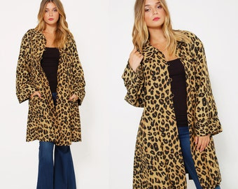 Vintage 90s LEOPARD Print SWING Coat Trapeze Coat Lightweight Animal Print SILK Jacket