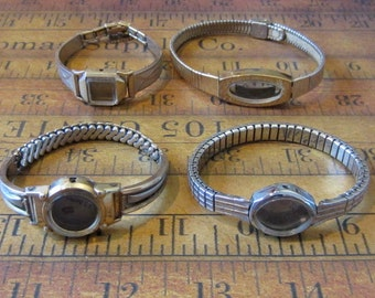 Vintage  Watch parts - watch Cases with band -  Steampunk - Scrapbooking  t7