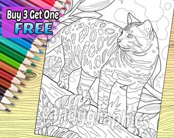Bengal Cat - Adult Coloring Book Page - Printable Instant Download