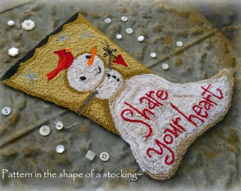Christmas Snowman Stocking Cardinal Bird Heart Punch Needle Embroidery DIGITAL Jpeg and PDF PATTERN Michelle Palmer