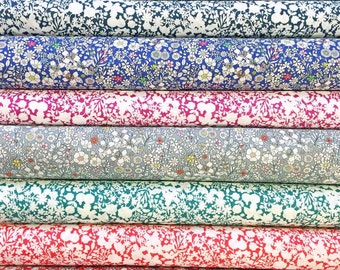 Liberty Fabric Tana Lawn Contemporary Classics 8 Scraps Selection 482 Floral Blue Green Red