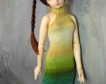 SD BJD handknitted dress Golden Willow