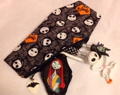 Coffin Shaped Make up bag/pouch, in Jack Skellington inspired fabric print.