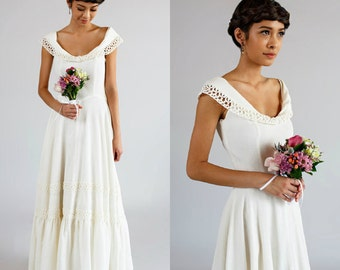 Cotton wedding dress etsy for Simple cotton wedding dress