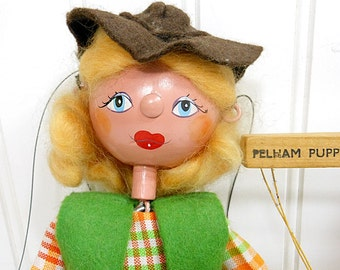 Vintage Pelham Puppet COWGIRL Marionette Wood Doll Country Western Blond Felt And Cloth Riding Pants England Collectible PeachyChicBoutique