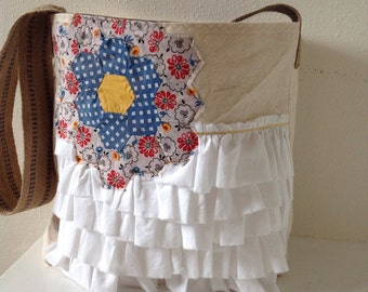 Canvas Handbag/ Ruffles/ Vintage Quilt Piece/ Tote/ Purse