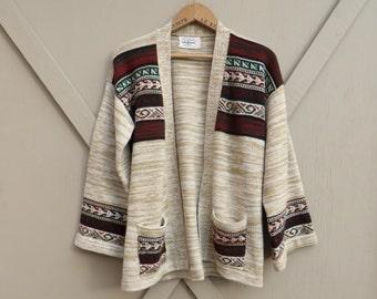 70s vintage Bohemian Space Dye Bell Sleeved Acrylic Knit Cardigan Sweater  / Hippie Sweater / Southwestern Sweater / Tribal Sweater