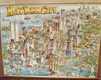 SALE Vintage New York City Jigsaw Puzzle Twin Towers