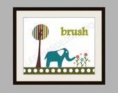 Target Circo Elephant, Art Print, Kids Room Decor, Elephant, Bath Room, 8x10 Art Print, Personalized