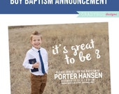 LDS Baptism Invitation, Boys Baptism Announcement, It's Great to be Eight 8, Photoshop File, customization available read in description