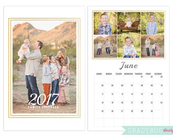 2017 Photo Calendar Template 11x17, Calendar Template, Gold Foil, Photo Calendar, 2017 Custom Calendar, 2017 Calendar, Photo Template