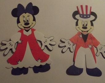 Mickey and Minnie Patriotic die cut set