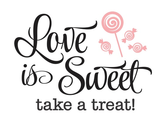 Wedding Decal Love Is Sweet Take A Treat Bride And Groom