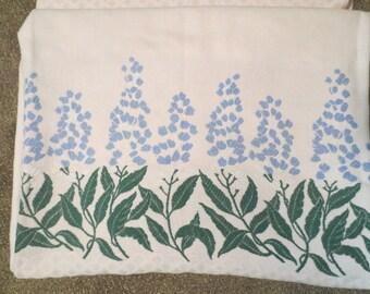 Vintage Bates Bedspread Cutter Floral pattern Periwinkle Pink and Green Floral Pattern