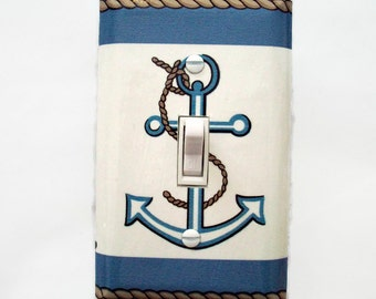 Anchor Light Switch Cover - Anchor Switchplate Cover - Nautical Nursery Decor - Bathroom Switchplate - Boys Room Girls Room- Beach House