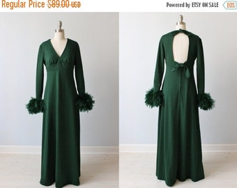 SALE Marabou Feather Dress / 1970s Dress / Evening Gown / Emerald