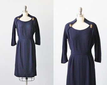 Vintage 1940s Navy Blue Rayon Long Sleeve Dress / Dress Clips / Side Metal Zipper / 40s Dress
