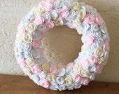 Large floral wreath, wreath with felt flowers, bridal wreath, felt door hanger,ready to ship,