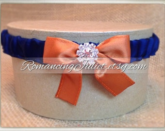 Simple Satin Dual Color Bridal Garter with Rhinestone Accent..You Choose The Colors..shown in  navy blue/burnt   orange