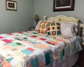 Full / Double Quilt, Wobbly, scrappy, natural ingredients, READY TO SHIP, pink turquoise gray