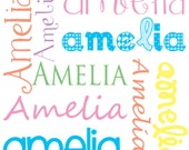 Personalized Name Fabric, Custom Colors, Girl fonts