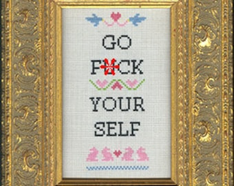 Subversive Cross Stitch Kit: Go F*ck Your Self