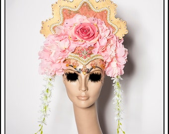 Fluttering Pink… Headdress Crown in Gold with Pink, Flowers, Roses and Beads with Rhinestones