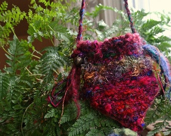 pouch - hand knit silk treasure bag forest pouch