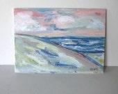 """Acrylic seascape painting on canvas, original beach art, Shabby Beach scene, nautical art, Beach cottage decor, 5"""" x 7"""", gift idea"""