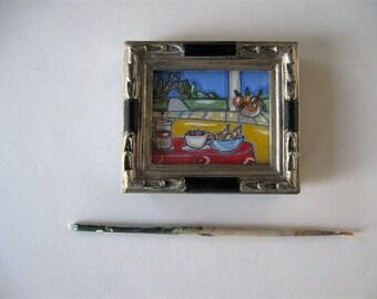 Miniature Acrylic Eiffel Tower Painting, Original Framed Art, Landscape, Coffee, Croisant, Paris Apartment, Gift idea