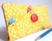 Woodland CHECKBOOK COVER Aqua Blue Poppy Red Fabric Wallet - Little Bird