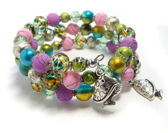 "Girls Bracelet, ""Woodland Fantasy"" Memory wire Bracelet, Children jewellery, pink, green, purple kids wrap around bracelet, SRAJD UK"
