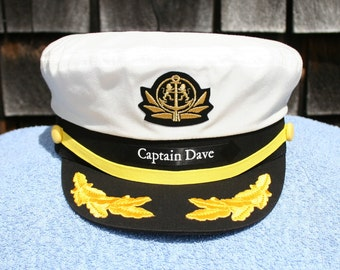 Personalized Yacht CAPTAIN'S HAT with Boat Name on left side of hat ...perfect for Sailing or any Nautical occasion Style #210-LSP