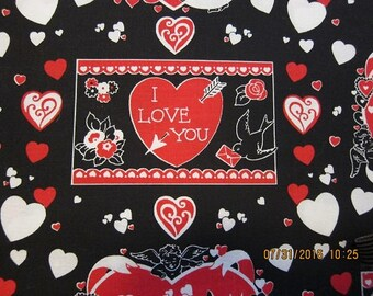 HEARTS ROMANCE FABRIC -  Stylized Heart Themes on Black 1 Yard - #M30