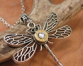 Bullet Jewelry - Dragonfly Necklace - Insect Jewelry - Lucky 32 Auto Bullet Casing Silver Dragonfly Pendant Necklace - Gun Jewelry
