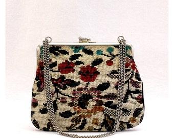 Vintage 70s Floral Tapestry Purse