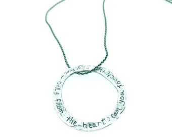 SALE rumi quote circle necklace . bohemian eternity inspirational quote necklace . sterling silver engraved message . ready to ship