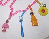 Plastic Clip Charms 80s Bell Charms Necklace Vintage Girly Pastels Record