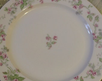 set of 3 antique dishes with PINK ROSES  French Limoges  10""