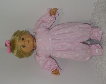Pink Heart Flannel Sleeper, Fits 15 Inch American Girl Bitty Dolls